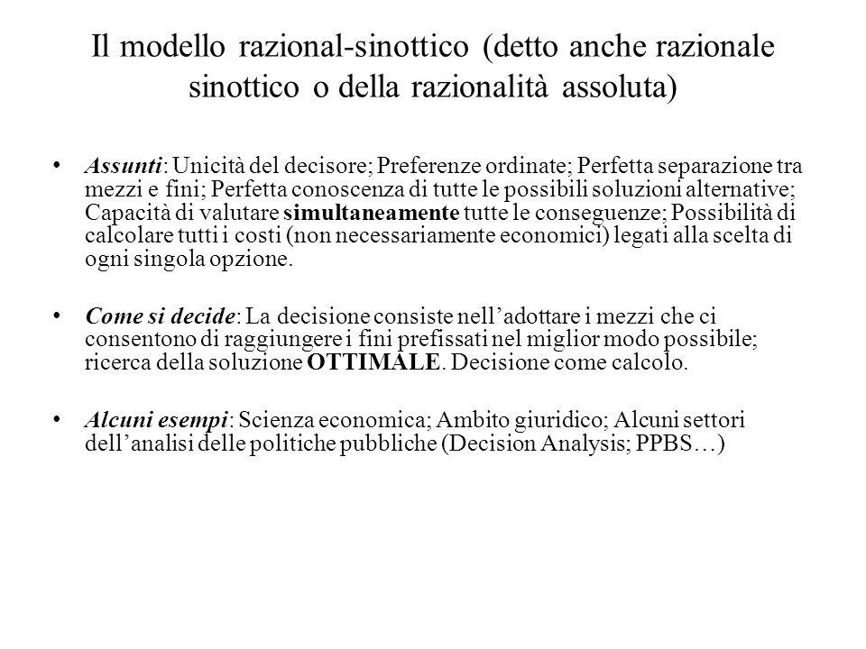 Il modello razional-sinottico (detto anche razionale sinottico o della razionalità assoluta)