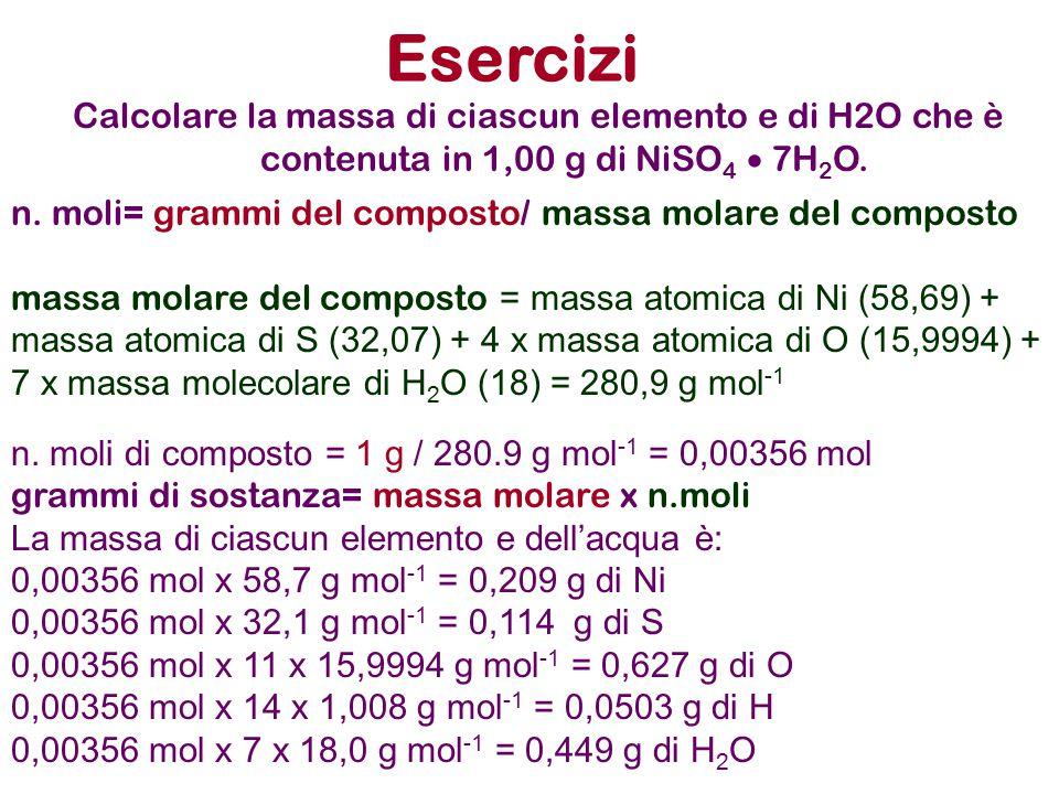 Esercizi Calcolare la massa di ciascun elemento e di H2O che è contenuta in 1,00 g di NiSO4  7H2O.
