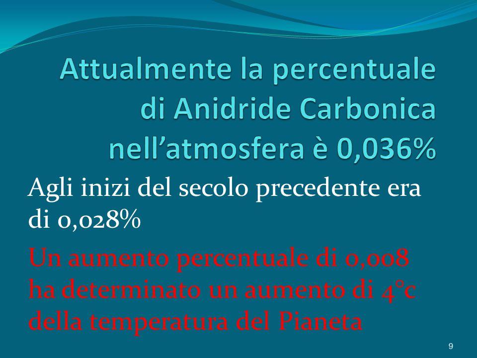 Attualmente la percentuale di Anidride Carbonica nell'atmosfera è 0,036%
