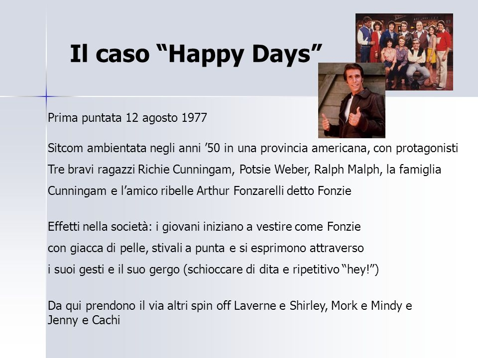 Il caso Happy Days Prima puntata 12 agosto 1977