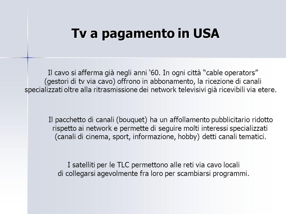 Tv a pagamento in USA Il cavo si afferma già negli anni '60. In ogni città cable operators