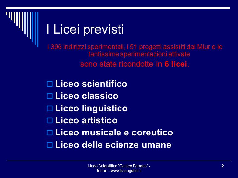 I Licei previsti Liceo scientifico Liceo classico Liceo linguistico