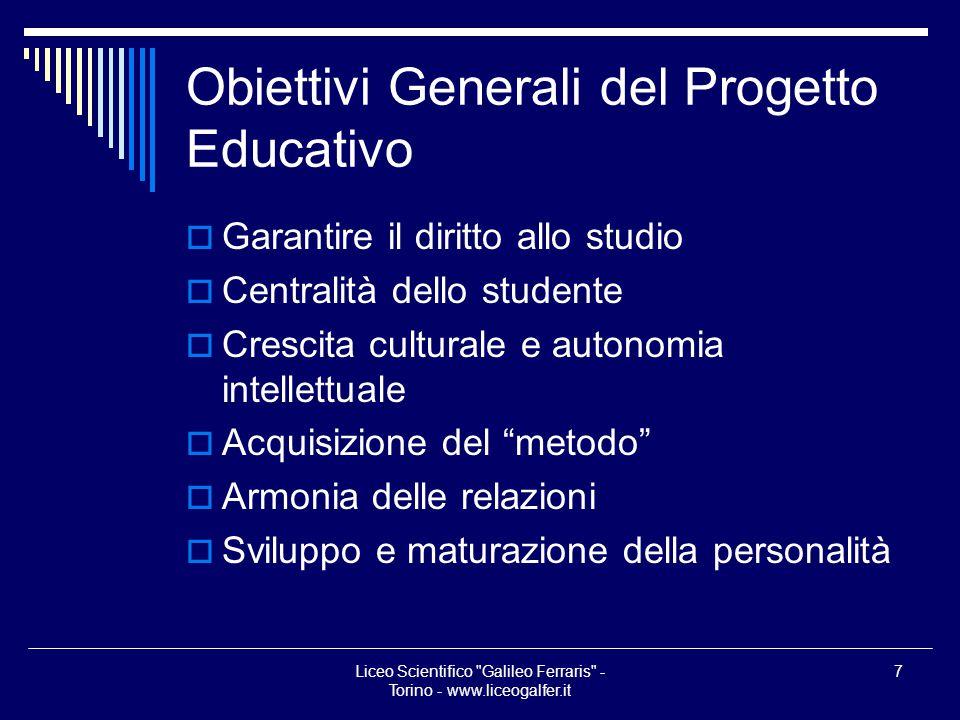 Obiettivi Generali del Progetto Educativo