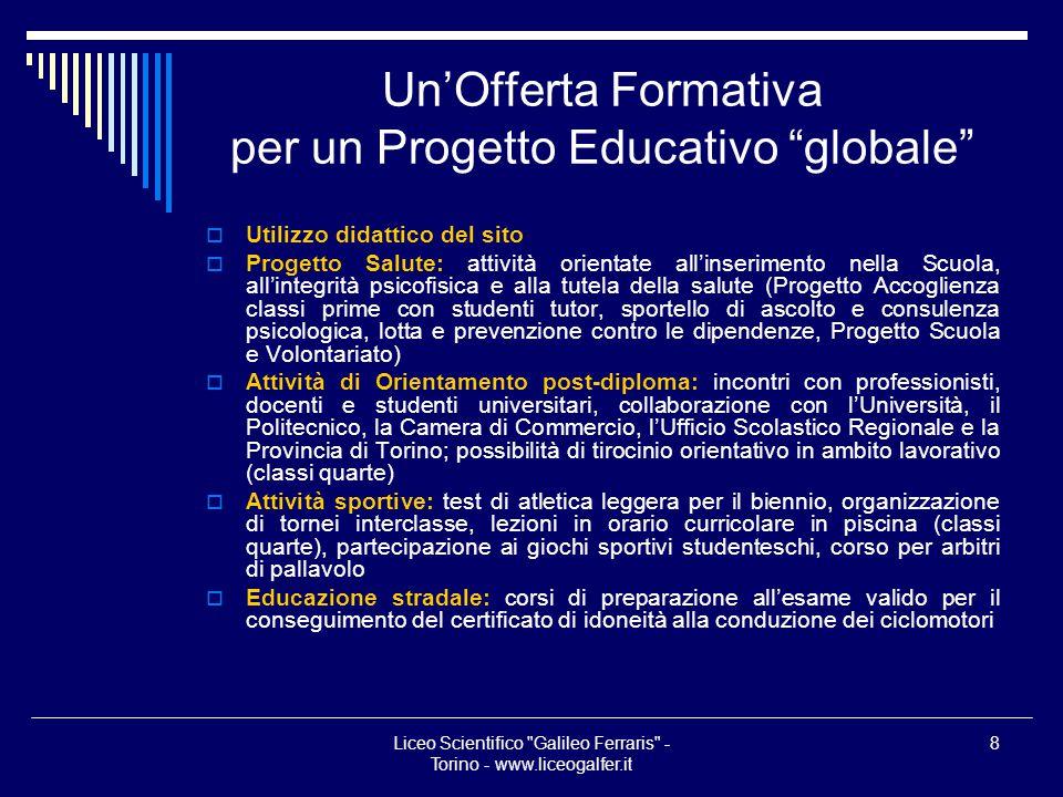 Un'Offerta Formativa per un Progetto Educativo globale