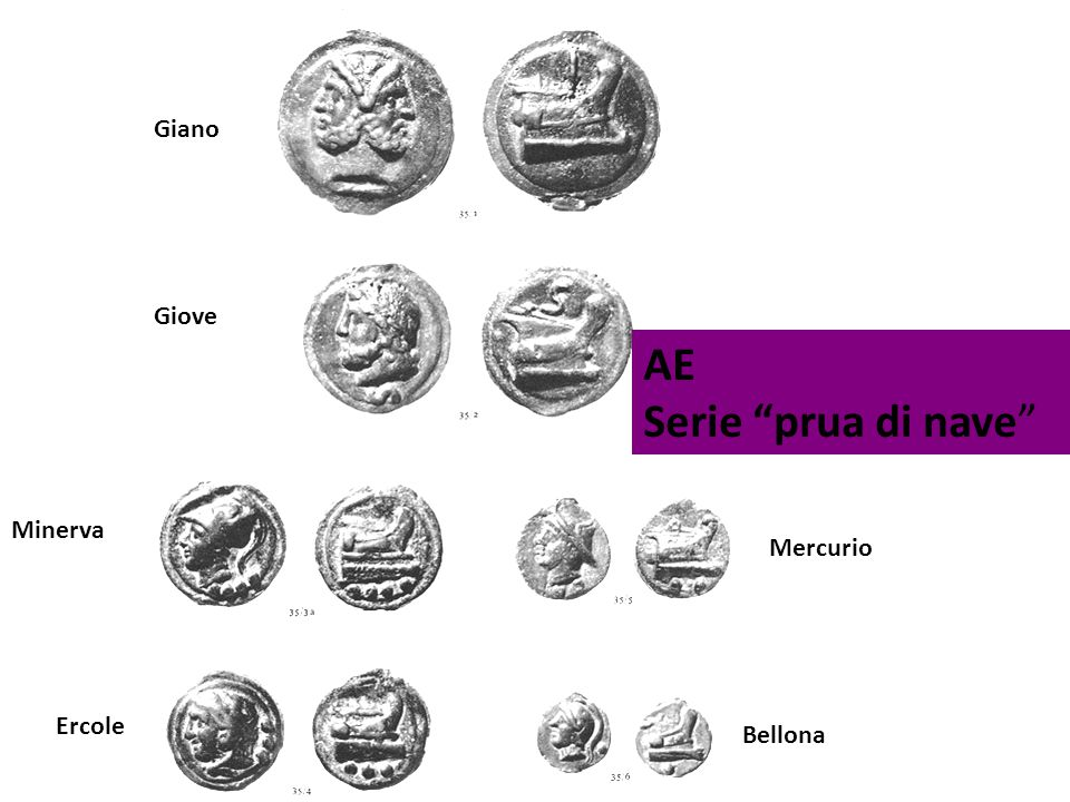 Giano Giove AE Serie prua di nave Minerva Mercurio Ercole Bellona