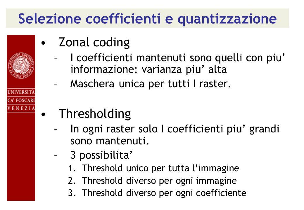 Selezione coefficienti e quantizzazione