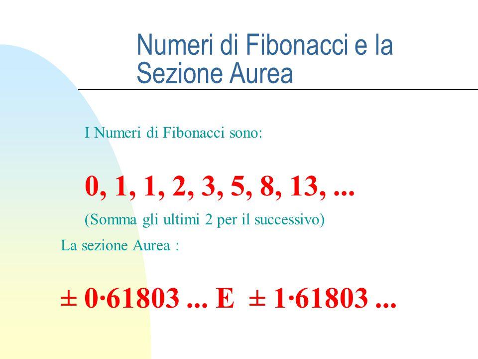 Numeri di Fibonacci e la Sezione Aurea