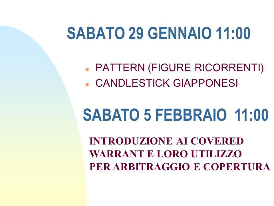 SABATO 29 GENNAIO 11:00 SABATO 5 FEBBRAIO 11:00