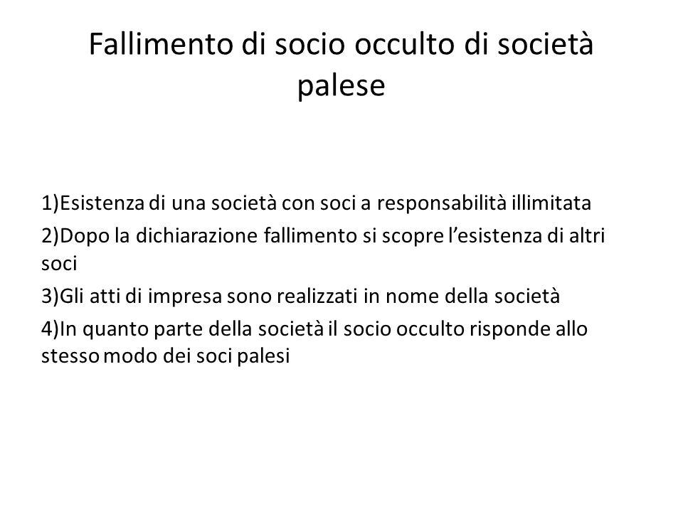 Fallimento di socio occulto di società palese