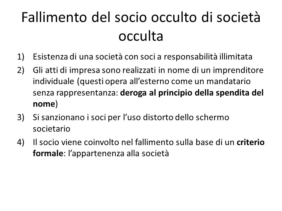 Fallimento del socio occulto di società occulta
