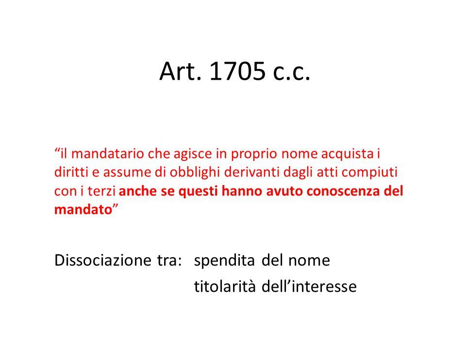 Art. 1705 c.c. Dissociazione tra: spendita del nome