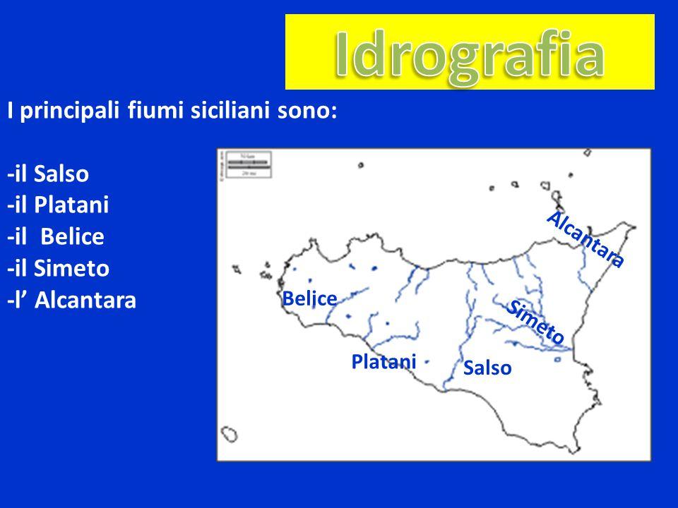 Idrografia I principali fiumi siciliani sono: -il Salso -il Platani