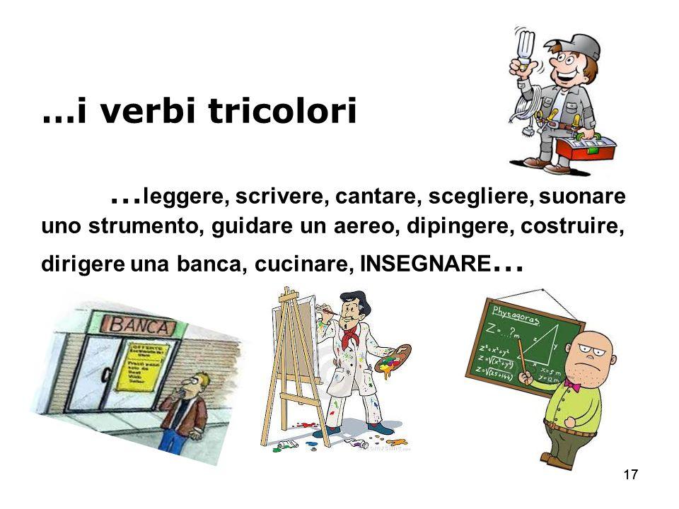 …i verbi tricolori …leggere, scrivere, cantare, scegliere, suonare uno strumento, guidare un aereo, dipingere, costruire, dirigere una banca, cucinare, INSEGNARE…