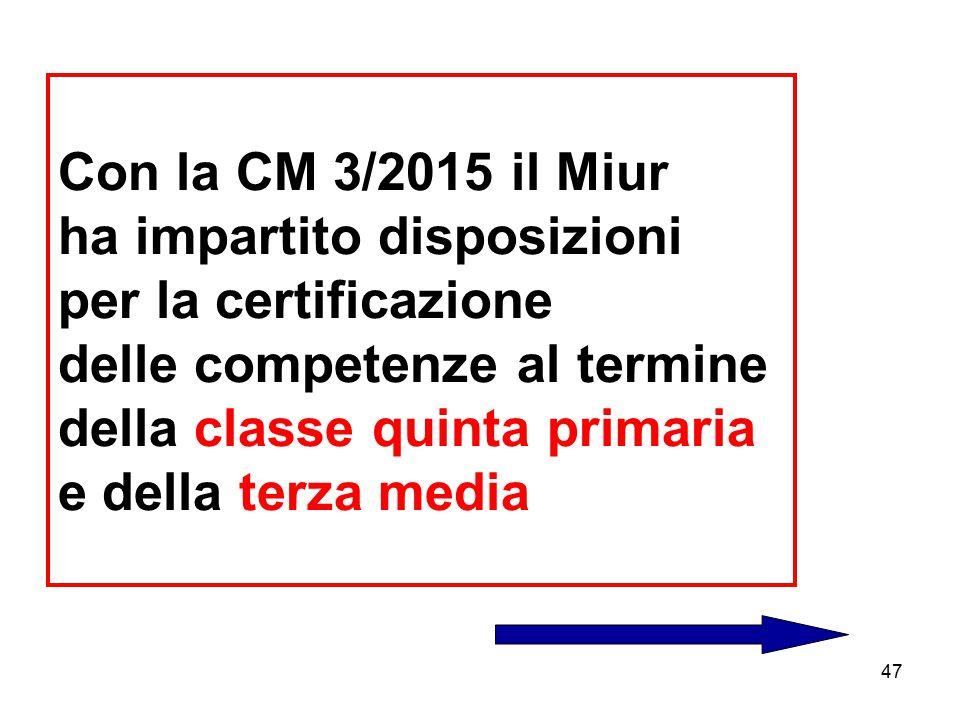Con la CM 3/2015 il Miur ha impartito disposizioni per la certificazione delle competenze al termine della classe quinta primaria e della terza media