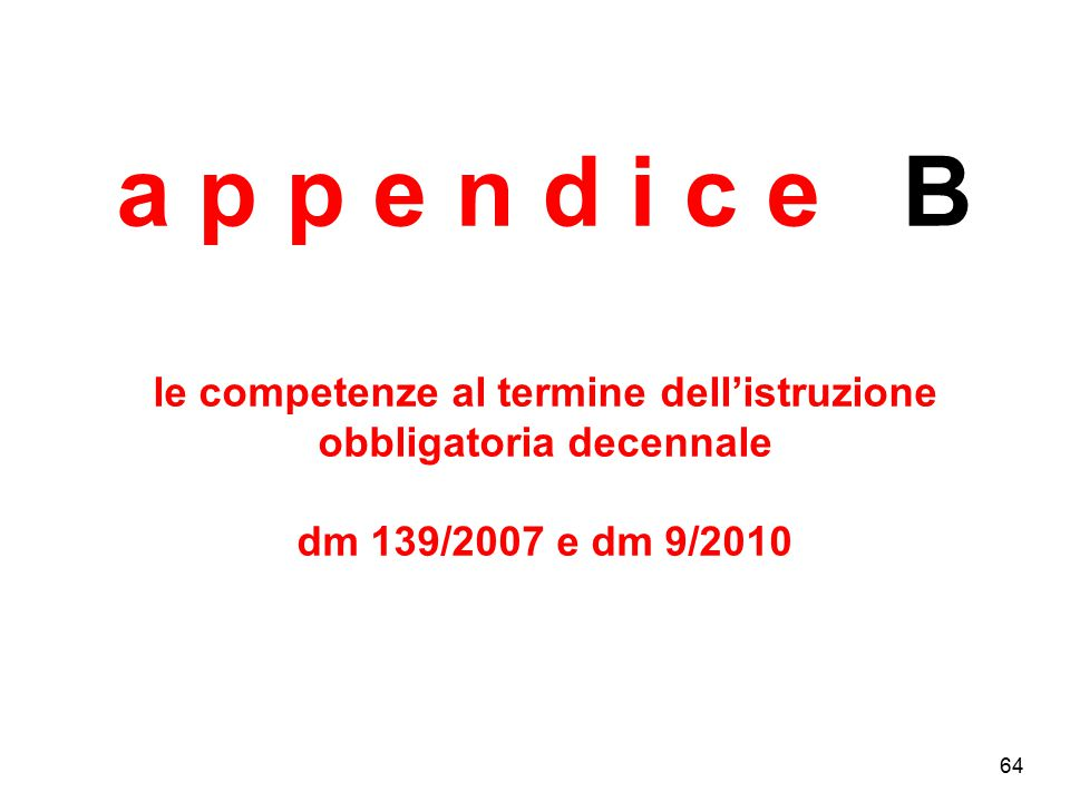 a p p e n d i c e B le competenze al termine dell'istruzione obbligatoria decennale dm 139/2007 e dm 9/2010