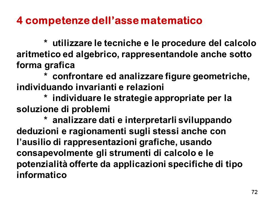 4 competenze dell'asse matematico