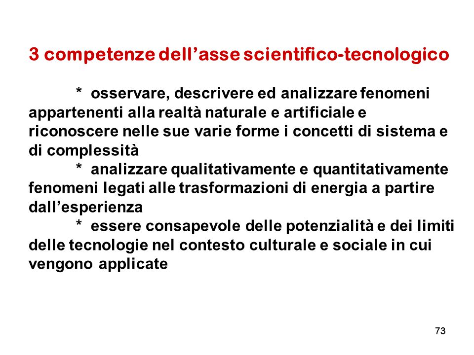 3 competenze dell'asse scientifico-tecnologico