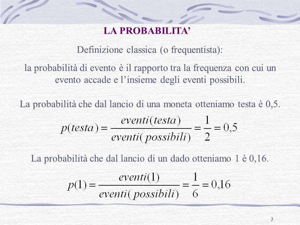 Definizione classica (o frequentista):