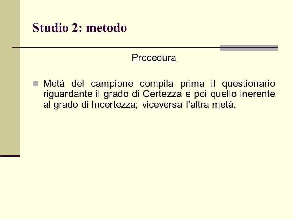 Studio 2: metodo Procedura