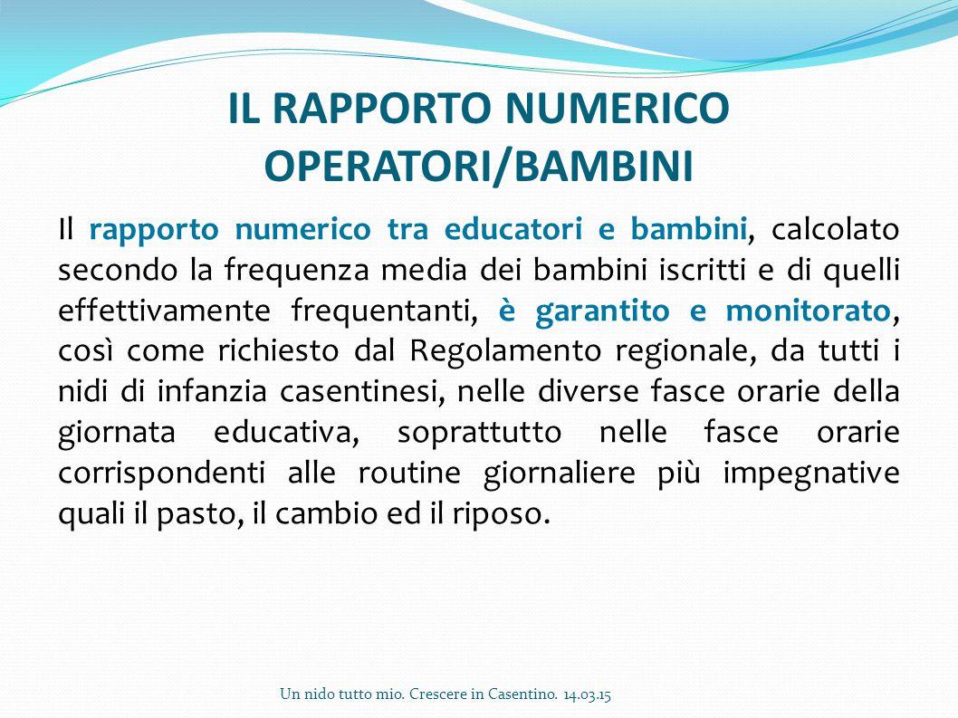 IL RAPPORTO NUMERICO OPERATORI/BAMBINI