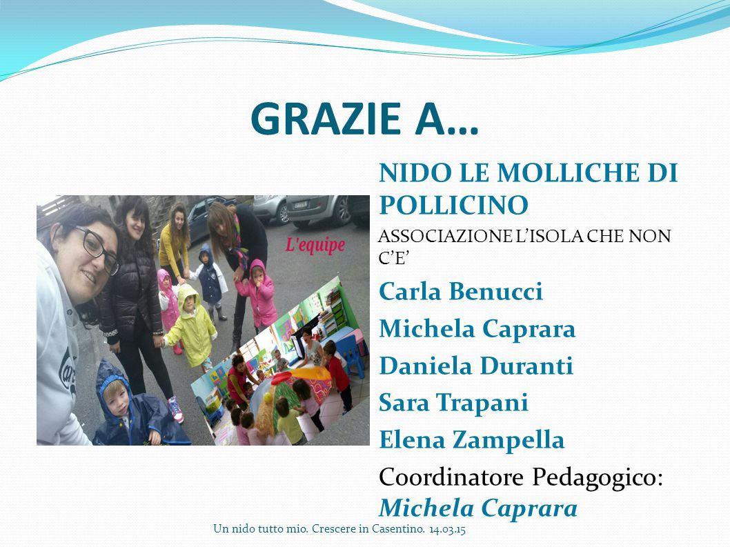 GRAZIE A… NIDO LE MOLLICHE DI POLLICINO Carla Benucci Michela Caprara