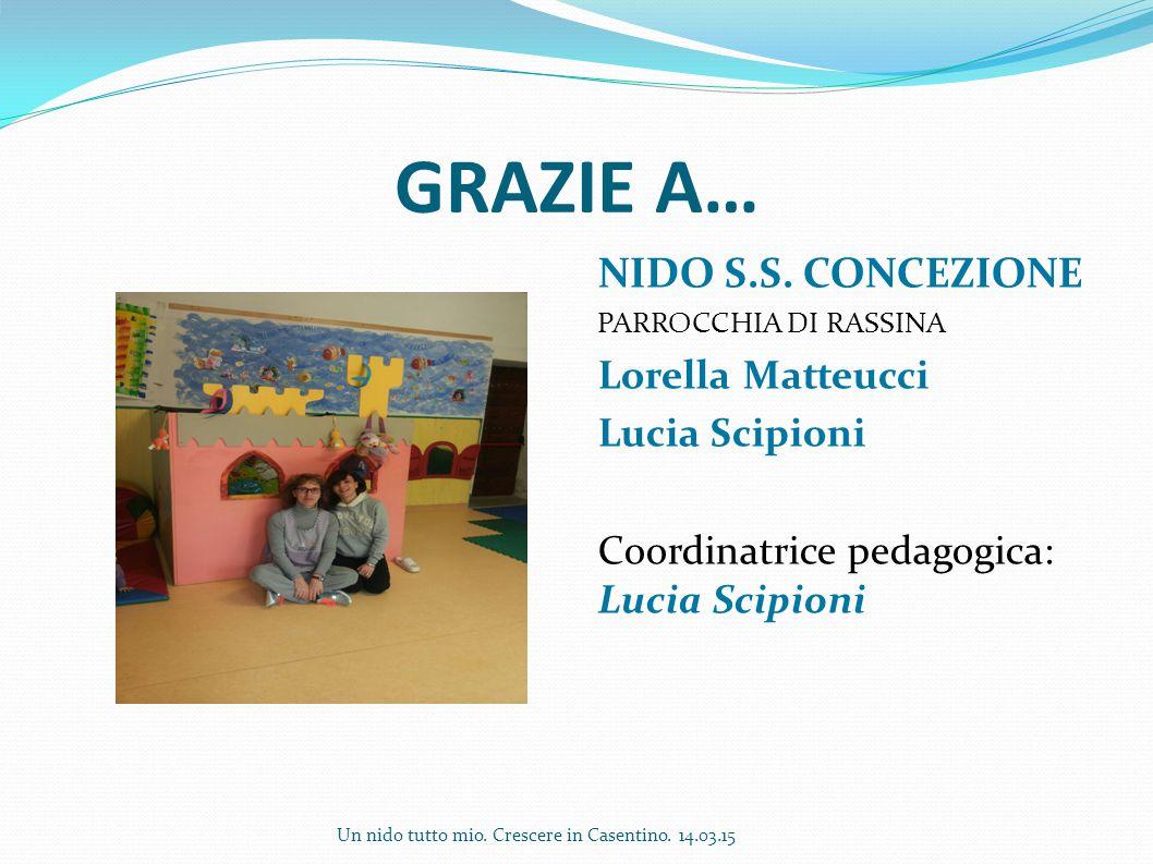 GRAZIE A… NIDO S.S. CONCEZIONE Lorella Matteucci Lucia Scipioni