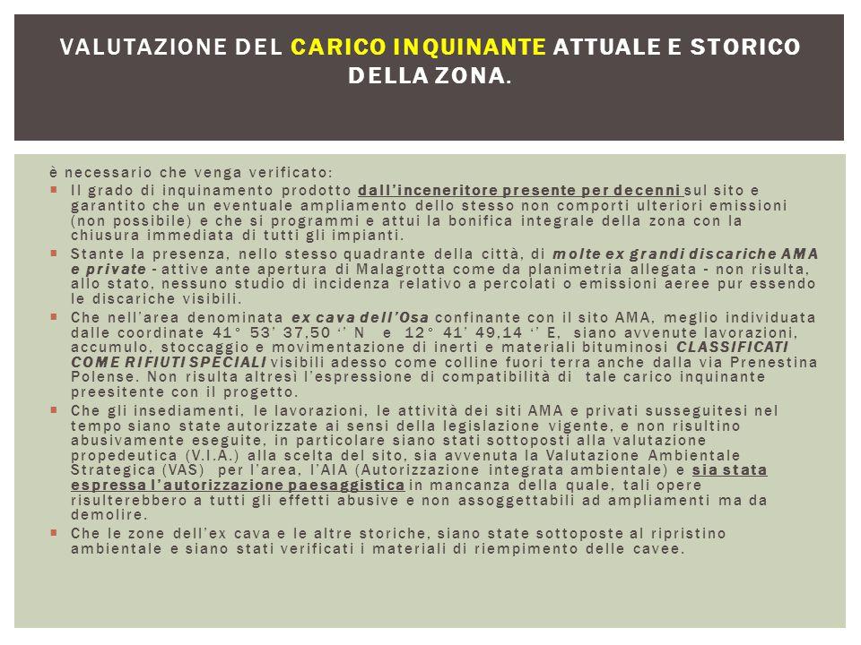 valutazione del carico inquinante attuale e storico della zona.