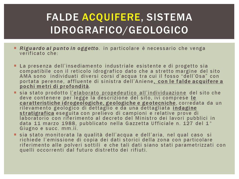 Falde acquifere, sistema idrografico/geologico
