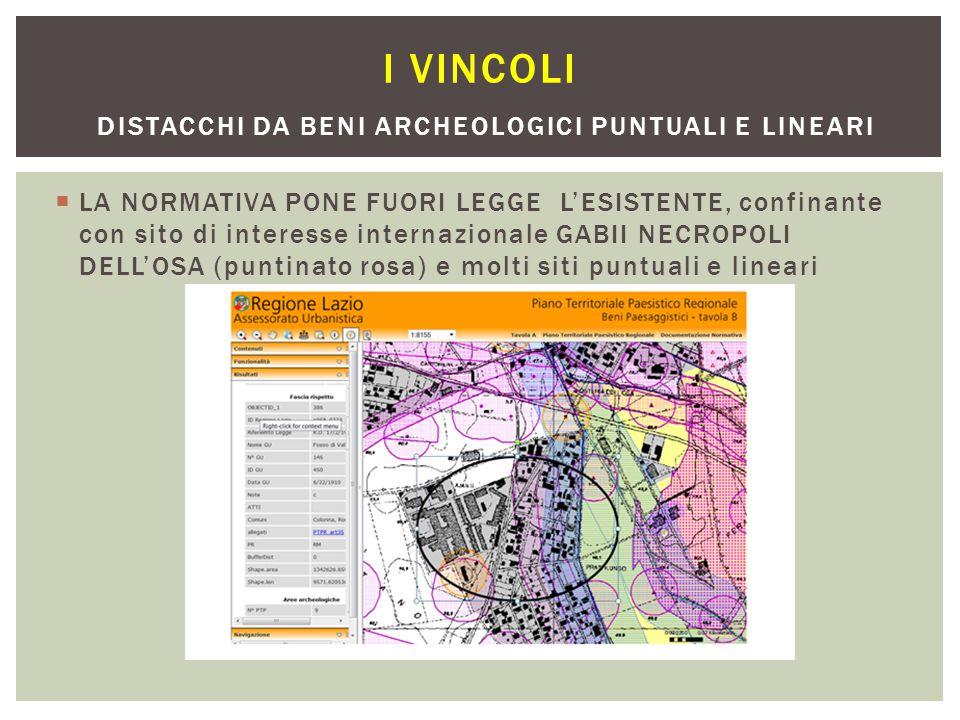 I vincoli distacchi da beni archeologici puntuali e lineari