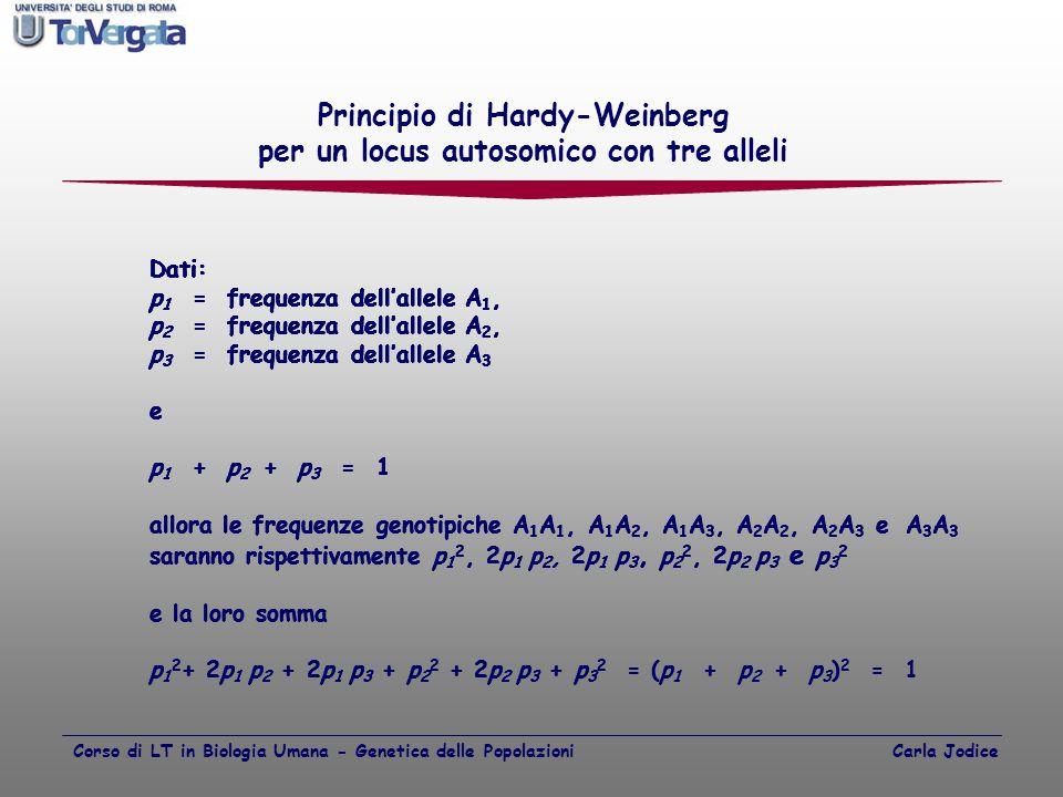 Principio di Hardy-Weinberg per un locus autosomico con tre alleli