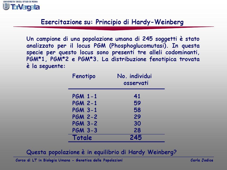Esercitazione su: Principio di Hardy-Weinberg