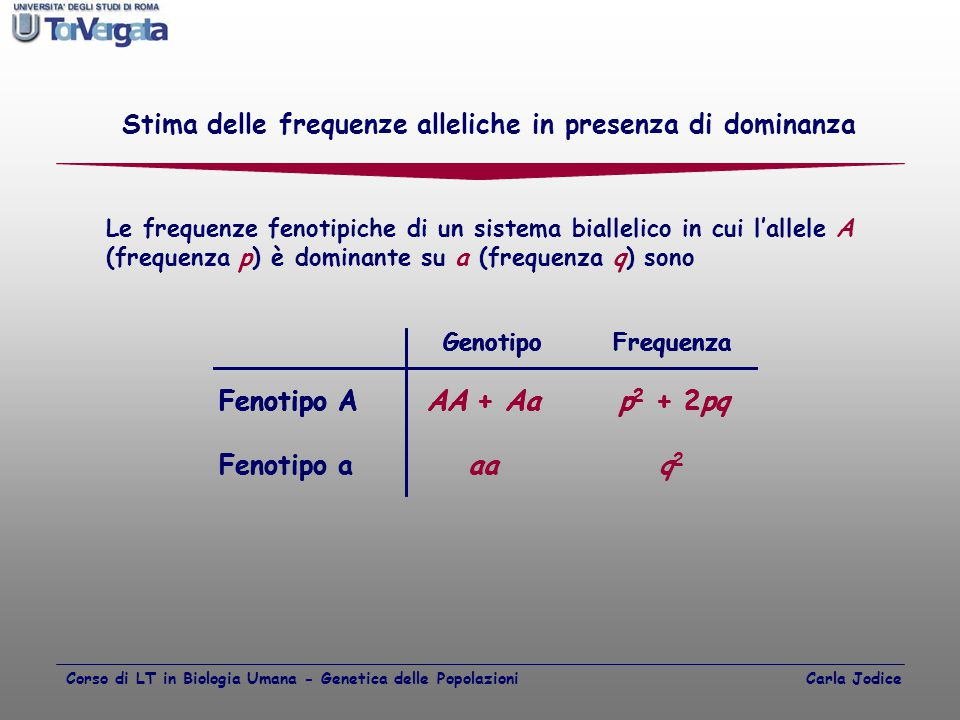 Stima delle frequenze alleliche in presenza di dominanza