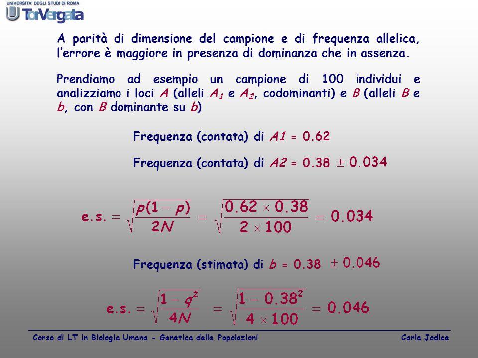 Frequenza (contata) di A1 = 0.62