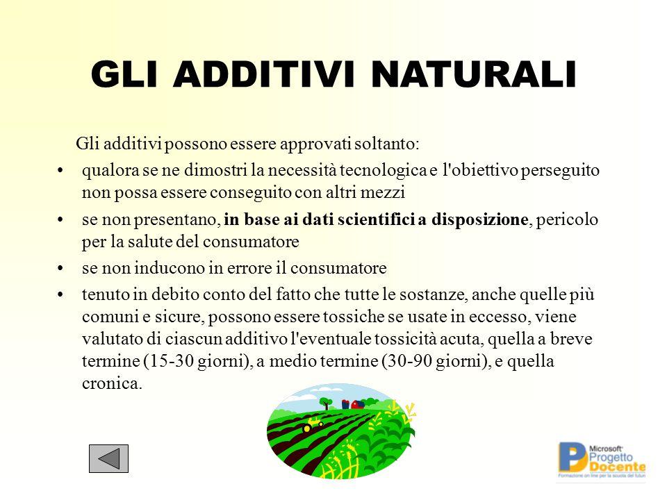 GLI ADDITIVI NATURALI Gli additivi possono essere approvati soltanto: