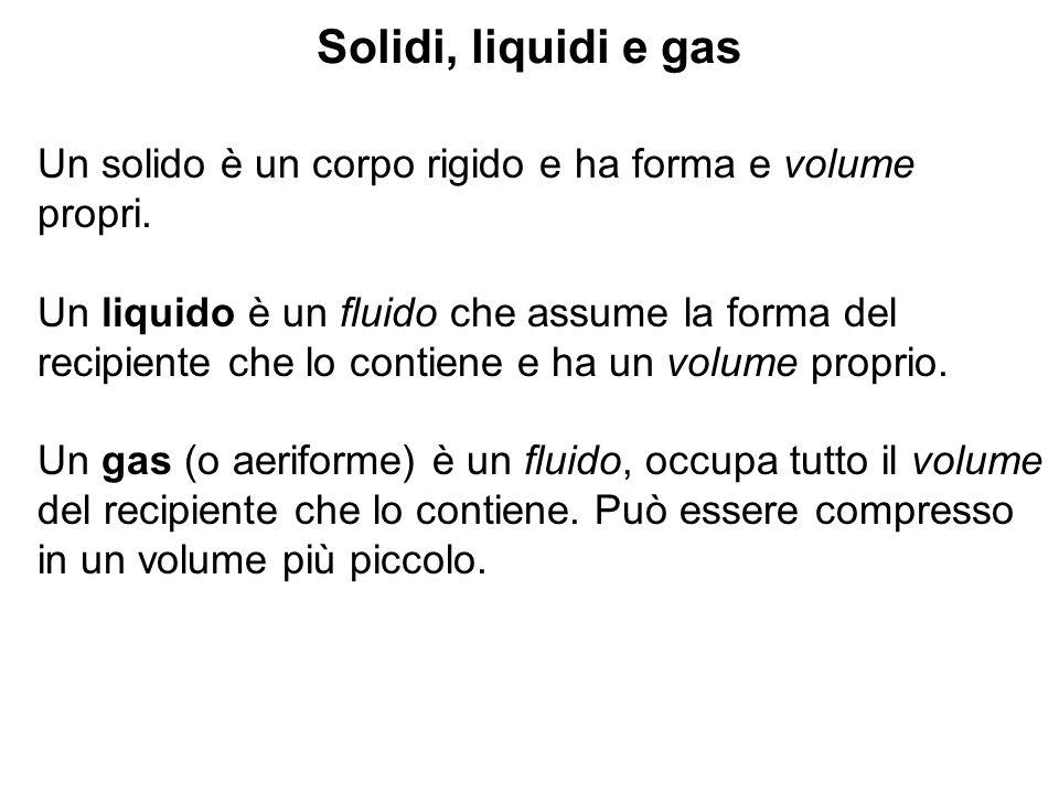 Solidi, liquidi e gas Un solido è un corpo rigido e ha forma e volume propri.