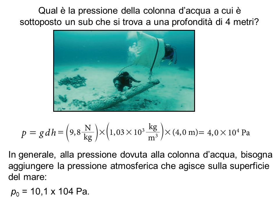 Qual è la pressione della colonna d'acqua a cui è sottoposto un sub che si trova a una profondità di 4 metri