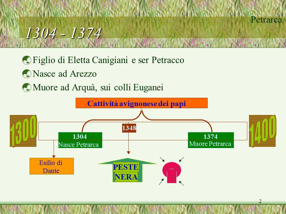 1304 - 1374 Figlio di Eletta Canigiani e ser Petracco Nasce ad Arezzo