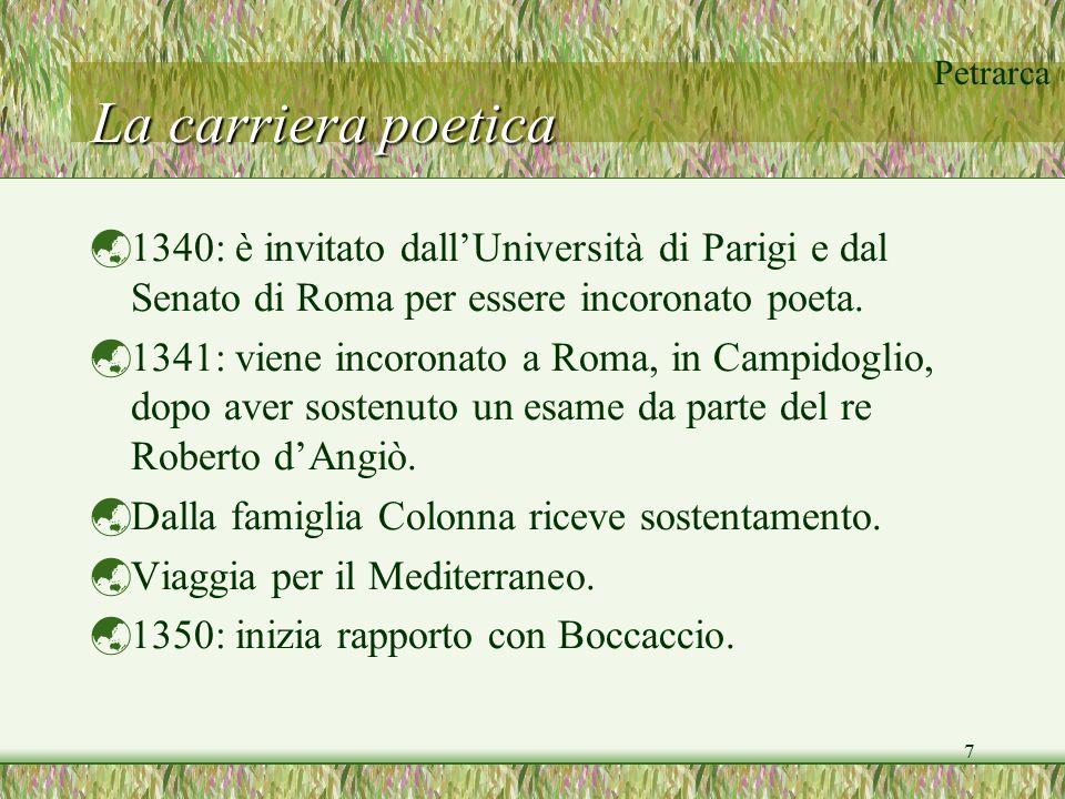 La carriera poetica 1340: è invitato dall'Università di Parigi e dal Senato di Roma per essere incoronato poeta.