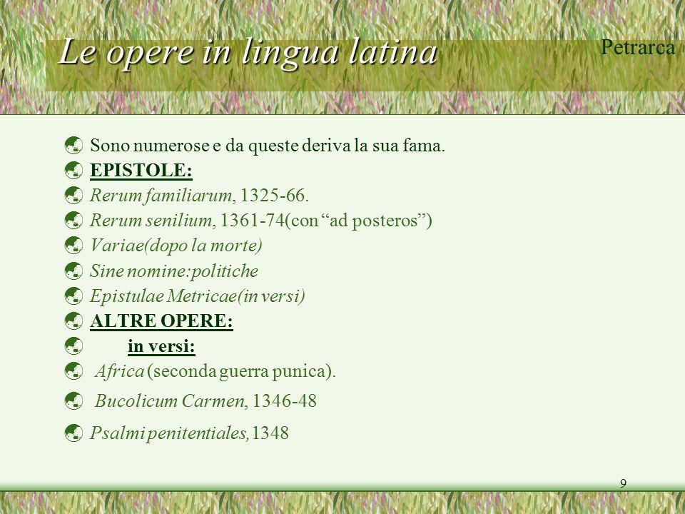 Le opere in lingua latina