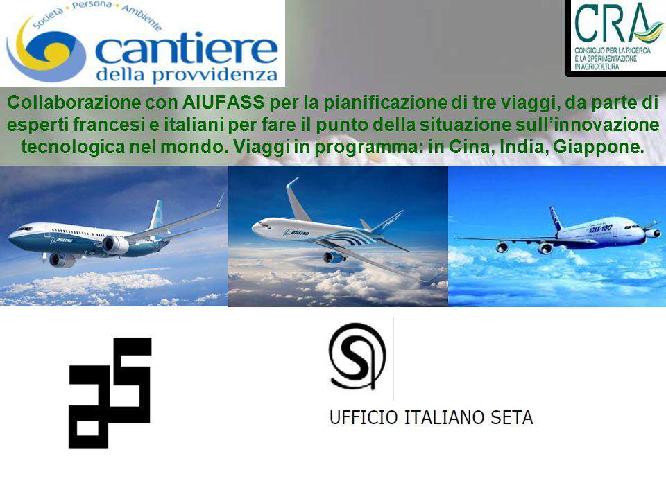Collaborazione con AIUFASS per la pianificazione di tre viaggi, da parte di esperti francesi e italiani per fare il punto della situazione sull'innovazione tecnologica nel mondo.