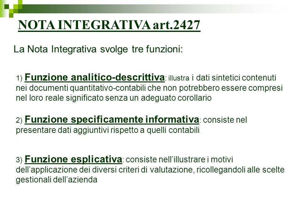 NOTA INTEGRATIVA art.2427 La Nota Integrativa svolge tre funzioni: