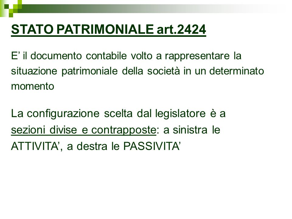 STATO PATRIMONIALE art.2424