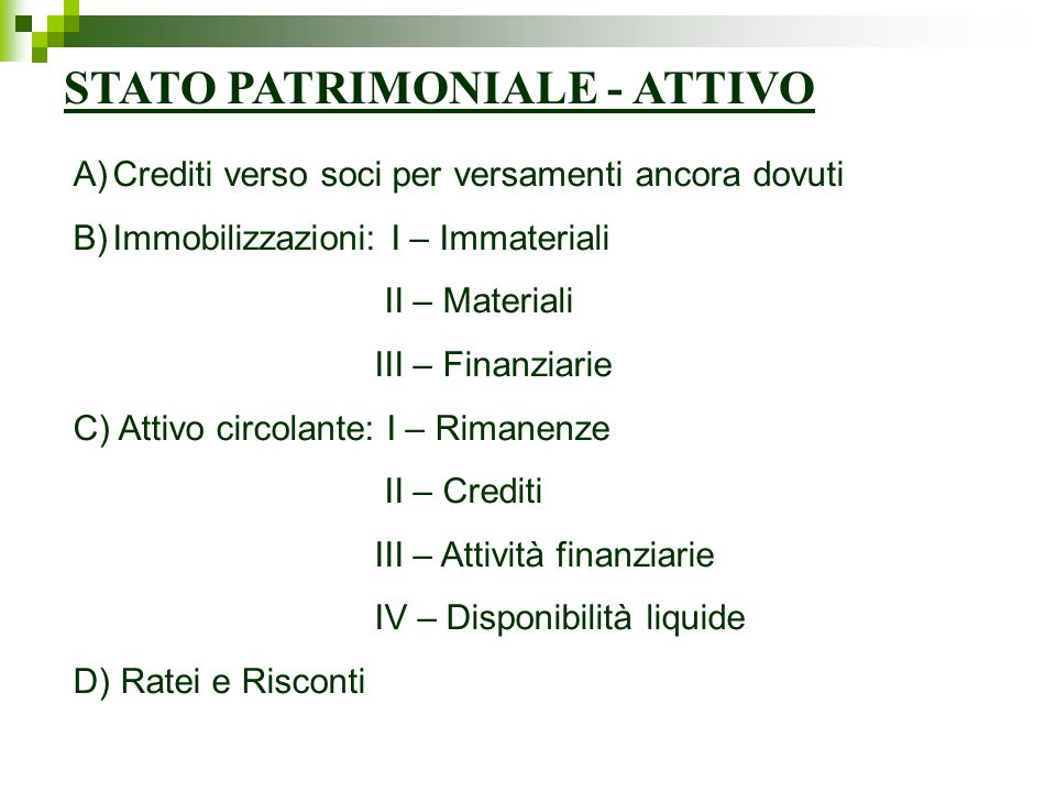 STATO PATRIMONIALE - ATTIVO