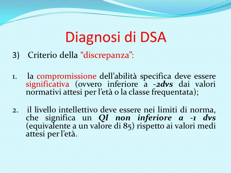 Diagnosi di DSA 3) Criterio della discrepanza :