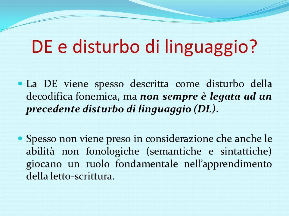 DE e disturbo di linguaggio