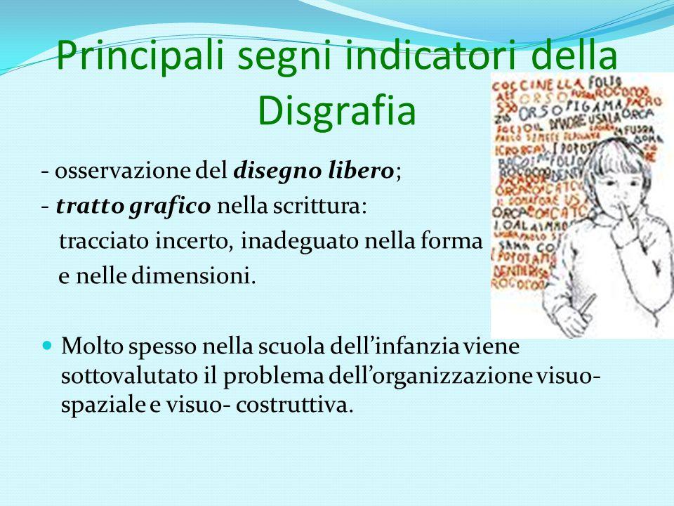 Principali segni indicatori della Disgrafia