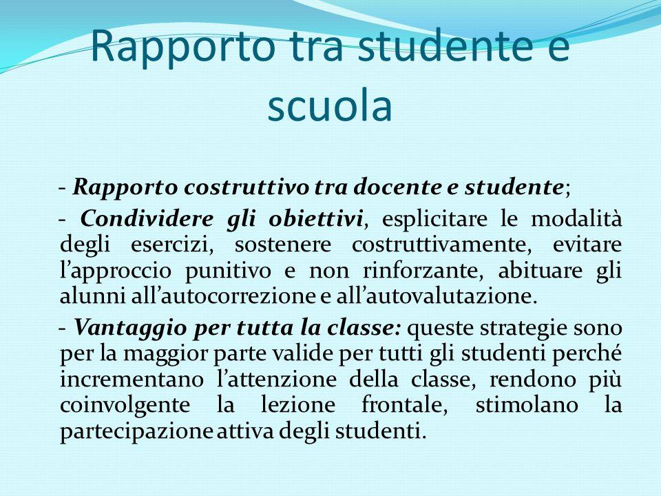 Rapporto tra studente e scuola