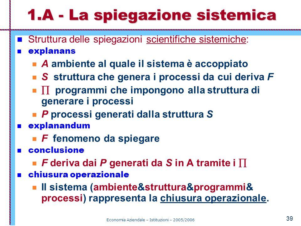 1.A - La spiegazione sistemica