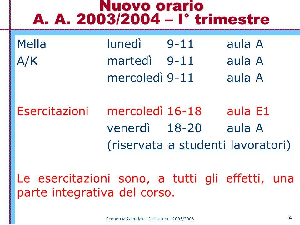 Nuovo orario A. A. 2003/2004 – I° trimestre