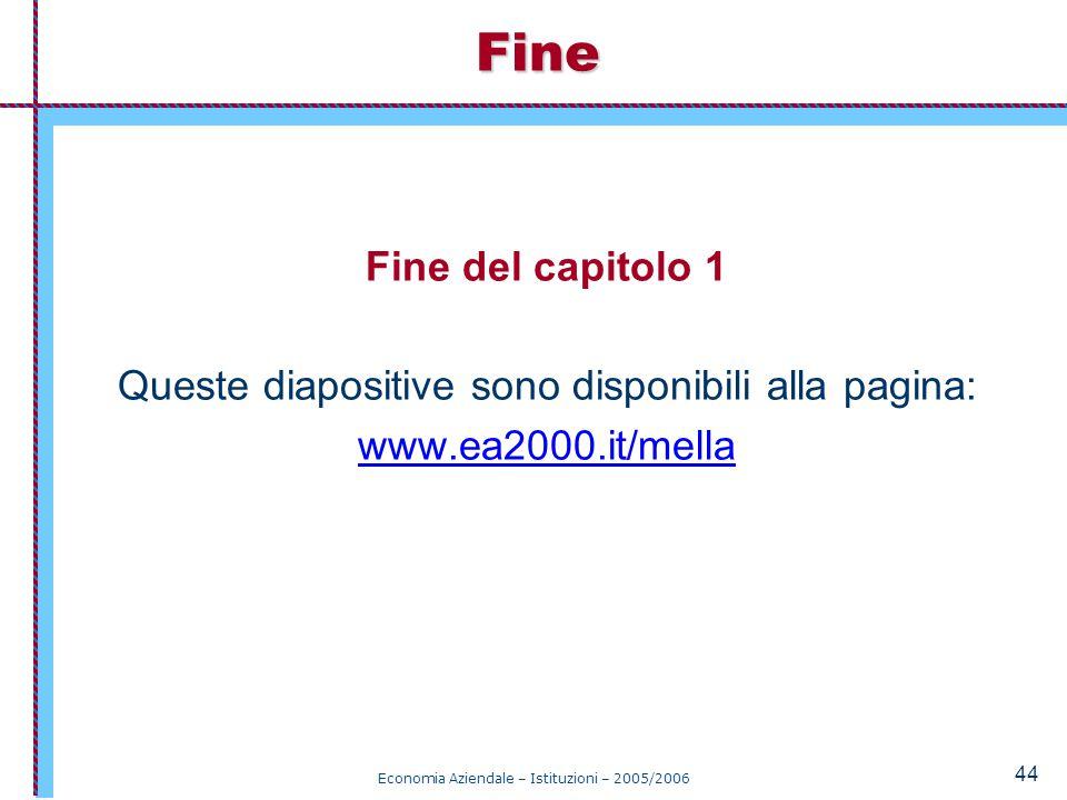 Fine Fine del capitolo 1. Queste diapositive sono disponibili alla pagina: www.ea2000.it/mella.